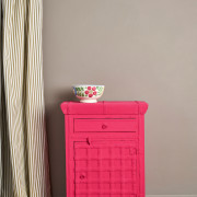 Capri-Pink-Side-Table,-Ticking-in-Olive-curtain,-Linen-Union-in-Old-White-+-French-Linen-lampshade-image-2